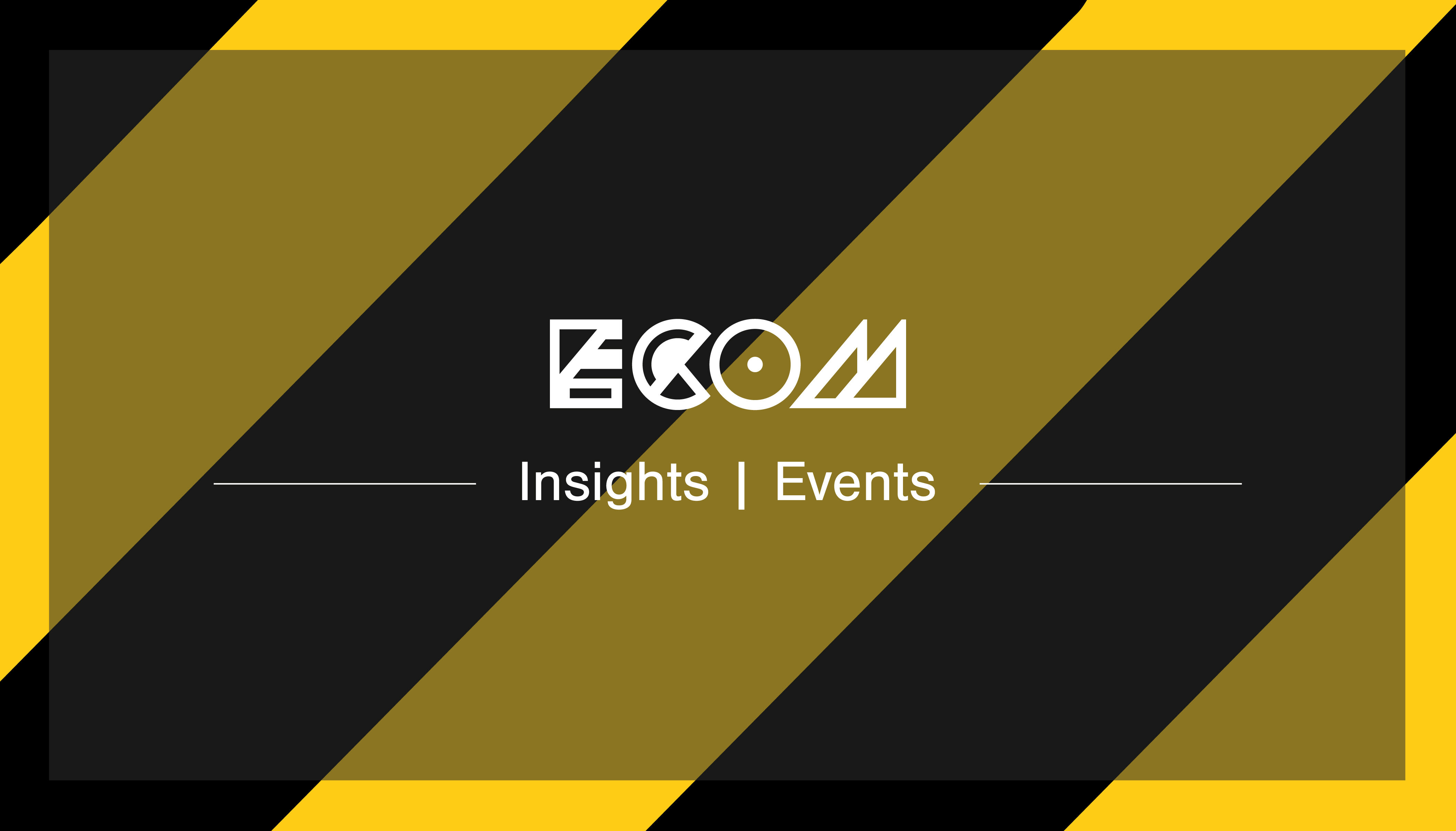 White ECOM logo insights banner on Hack Manchester black and yellow stripped background