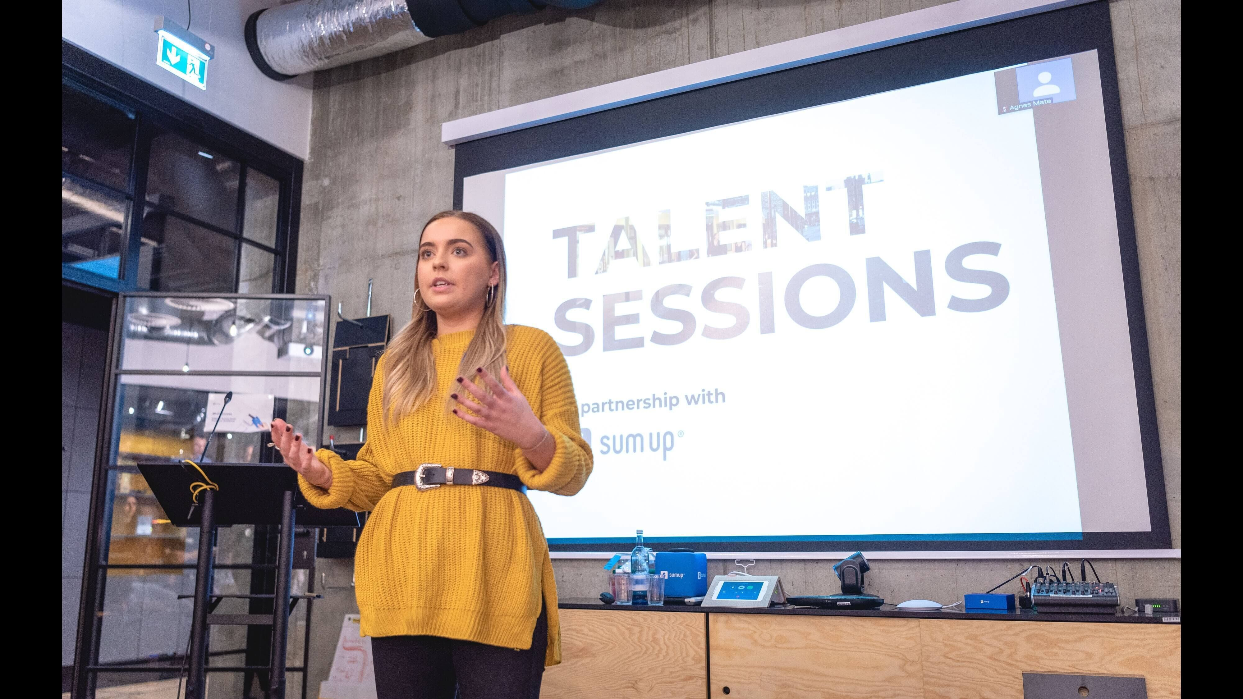Photo of a speaker at an event called Talent Sessions